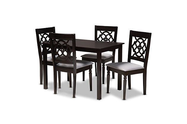 Renaud Gray Fabric Upholstered Espresso Brown Finished 5-Piece Wood Dining Set, Gray, large