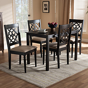 Renaud Sand Fabric Upholstered Espresso Brown Finished 5-Piece Wood Dining Set, Espresso, rollover