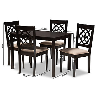 Renaud Sand Fabric Upholstered Espresso Brown Finished 5-Piece Wood Dining Set, Espresso, large