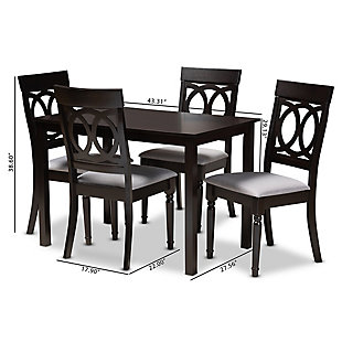 Lucie Gray Fabric Upholstered Espresso Brown Finished 5-Piece Wood Dining Set, Gray, large