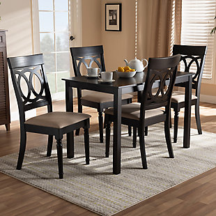 Lucie Sand Fabric Upholstered Espresso Brown Finished 5-Piece Wood Dining Set, Espresso, rollover