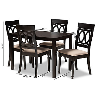 Lucie Sand Fabric Upholstered Espresso Brown Finished 5-Piece Wood Dining Set, Espresso, large