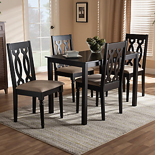 Cherese Sand Fabric Upholstered Espresso Brown Finished 5-Piece Wood Dining Set, Espresso, large