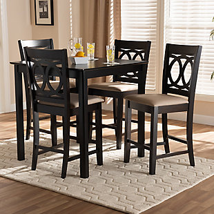 Lenoir Sand Fabric Upholstered Espresso Brown Finished 5-Piece Wood Pub Set, Espresso, rollover