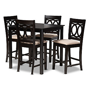 Lenoir Sand Fabric Upholstered Espresso Brown Finished 5-Piece Wood Pub Set, Espresso, large