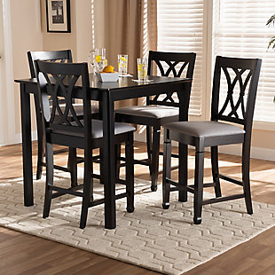 Reneau Gray Fabric Upholstered Espresso Brown Finished 5-Piece Wood Pub Set, Gray, large