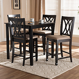 Reneau Sand Fabric Upholstered Espresso Brown Finished 5-Piece Wood Pub Set, Espresso, rollover