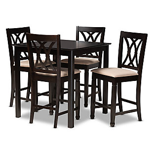 Reneau Sand Fabric Upholstered Espresso Brown Finished 5-Piece Wood Pub Set, Espresso, large