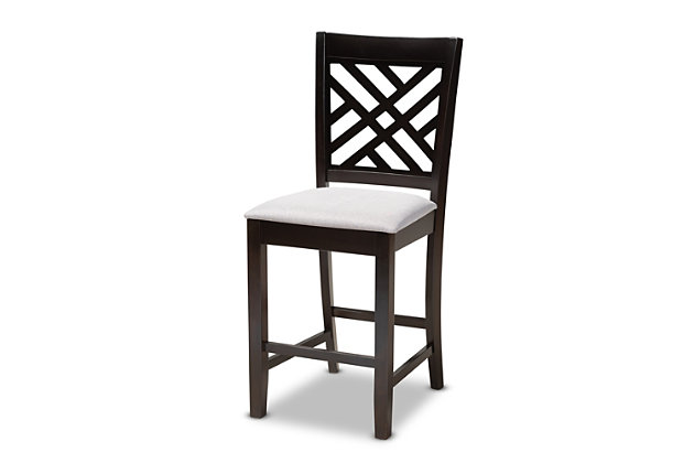Caron Gray Fabric Upholstered Espresso Brown Finished 5-Piece Wood Pub Set, Gray, large