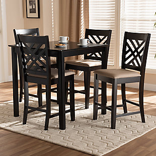 Caron Sand Fabric Upholstered Espresso Brown Finished 5-Piece Wood Pub Set, Espresso, rollover