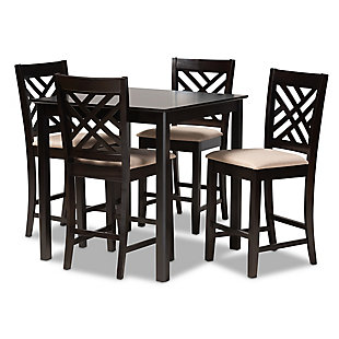 Caron Sand Fabric Upholstered Espresso Brown Finished 5-Piece Wood Pub Set, Espresso, large