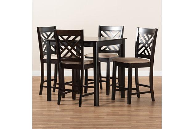 Caron Sand Fabric Upholstered Espresso Brown Finished 5-Piece Wood Pub Set, Espresso, large