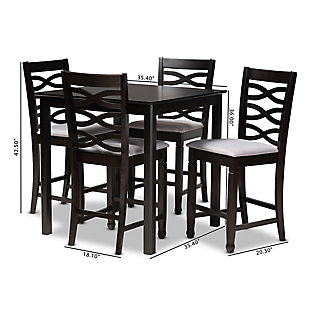 Lanier Gray Fabric Upholstered Espresso Brown Finished 5-Piece Wood Pub Set, Gray, large