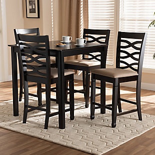 Lanier Sand Fabric Upholstered Espresso Brown Finished 5-Piece Wood Pub Set, Espresso, rollover