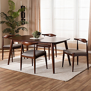 Aeron Light Gray Fabric Upholstered Walnut Finished Wood 5-Piece Dining Set, , rollover