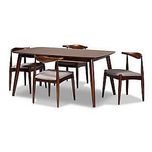 Aeron Light Gray Fabric Upholstered Walnut Finished Wood 5-Piece Dining Set, , large