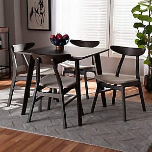 Britte Beige Fabric Upholstered Dark Oak Brown Finished 5-Piece Wood Dining Set, Beige, rollover