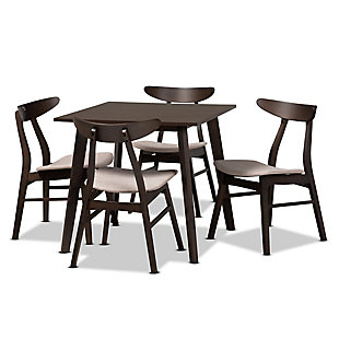 Britte Beige Fabric Upholstered Dark Oak Brown Finished 5-Piece Wood Dining Set, Beige, large