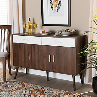 Leena Two-Tone White and Walnut Brown Finished Wood 2-Drawer Sideboard Buffet, , rollover