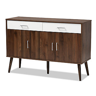 Leena Two-Tone White and Walnut Brown Finished Wood 2-Drawer Sideboard Buffet, , large