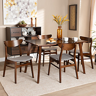 Orion Transitional Light Gray Fabric Upholstered and Walnut Brown Finished Wood 5-Piece Dining Set, Gray, rollover
