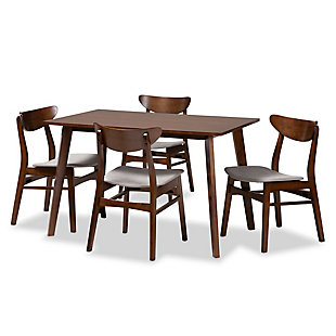 Orion Transitional Light Gray Fabric Upholstered and Walnut Brown Finished Wood 5-Piece Dining Set, Gray, large