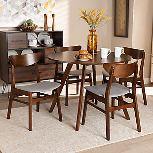 Philip Transitional Light Gray Fabric Upholstered and Walnut Brown Finished Wood 5-Piece Dining Set, Gray, rollover