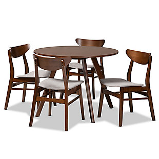 Philip Transitional Light Gray Fabric Upholstered and Walnut Brown Finished Wood 5-Piece Dining Set, Gray, large