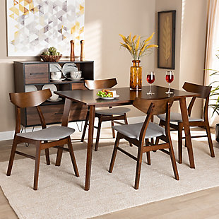 Lois Transitional Light Gray Fabric Upholstered and Walnut Brown Finished Wood 5-Piece Dining Set, Gray, rollover