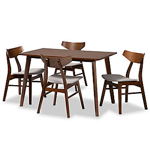 Lois Transitional Light Gray Fabric Upholstered and Walnut Brown Finished Wood 5-Piece Dining Set, Gray, large