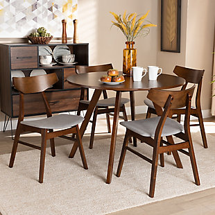Timothy Transitional Light Gray Fabric Upholstered and Walnut Brown Finished Wood 5-Piece Dining Set, Gray, rollover
