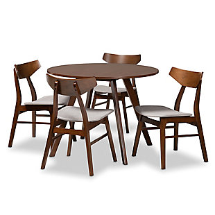 Timothy Transitional Light Gray Fabric Upholstered and Walnut Brown Finished Wood 5-Piece Dining Set, Gray, large