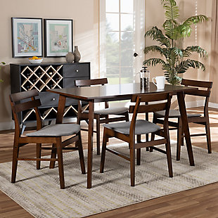 Eleri Transitional Light Gray Fabric Upholstered and Walnut Brown Finished Wood 5-Piece Dining Set, Gray, rollover