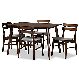 Eleri Transitional Light Gray Fabric Upholstered and Walnut Brown Finished Wood 5-Piece Dining Set, Gray, large