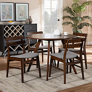 Eiko Transitional Light Gray Fabric Upholstered and Walnut Brown Finished Wood 5-Piece Dining Set, Gray, rollover