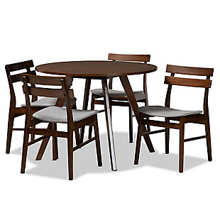 Eiko Transitional Light Gray Fabric Upholstered and Walnut Brown Finished Wood 5-Piece Dining Set, Gray, large