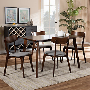 Nori Transitional Light Gray Fabric Upholstered and Walnut Brown Finished Wood 5-Piece Dining Set, Gray, rollover