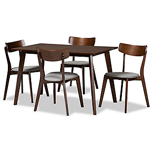 Nori Transitional Light Gray Fabric Upholstered and Walnut Brown Finished Wood 5-Piece Dining Set, Gray, large