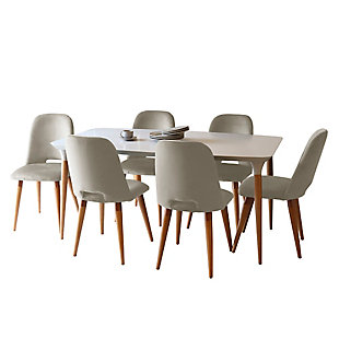 Manhattan Comfort HomeDock and Selina 7-Pc Dining Set in Off White and Beige, White/Brown, large