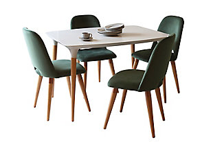 Manhattan Comfort HomeDock and Selina 5-Pc Dining Set in Off White and Green, White/Green, large
