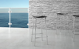 Manhattan Comfort Madeline Barstool, Set of 3 in Silver and Black, Silver/Black, rollover