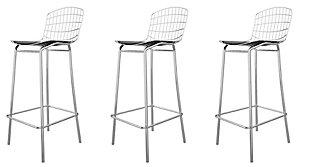 Manhattan Comfort Madeline Barstool, Set of 3 in Silver and Black, Silver/Black, large