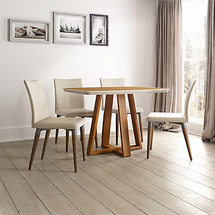 Manhattan Comfort Duffy and Charles 7-Piece Dining Set in Cinnamon and Dark Beige, Brown/White, rollover