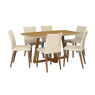 Manhattan Comfort Duffy and Charles 7-Piece Dining Set in Cinnamon and Dark Beige, Brown/White, large