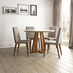 Manhattan Comfort Duffy and Utopia 5-Piece Dining Set in Off White and Gray, , rollover