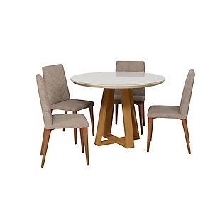 Manhattan Comfort Duffy and Utopia 5-Piece Dining Set in Off White and Gray, , large