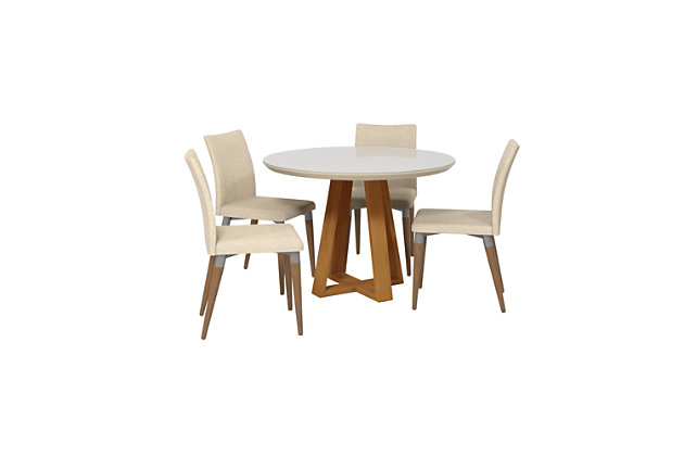 Manhattan Comfort Duffy and Charles 5-Piece Dining Set in Off White and Dark Beige, White/Brown, large