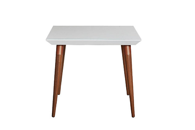Manhattan Comfort Utopia Square Dining Table in White and Maple Cream, White/Brown, large