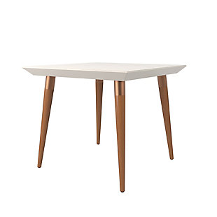 Manhattan Comfort Utopia Square Dining Table in Off White and Maple, Off-White/Brown, large