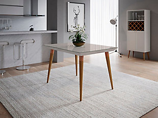 Manhattan Comfort Utopia Rectangle Dining Table in White and Maple, White/Brown, rollover